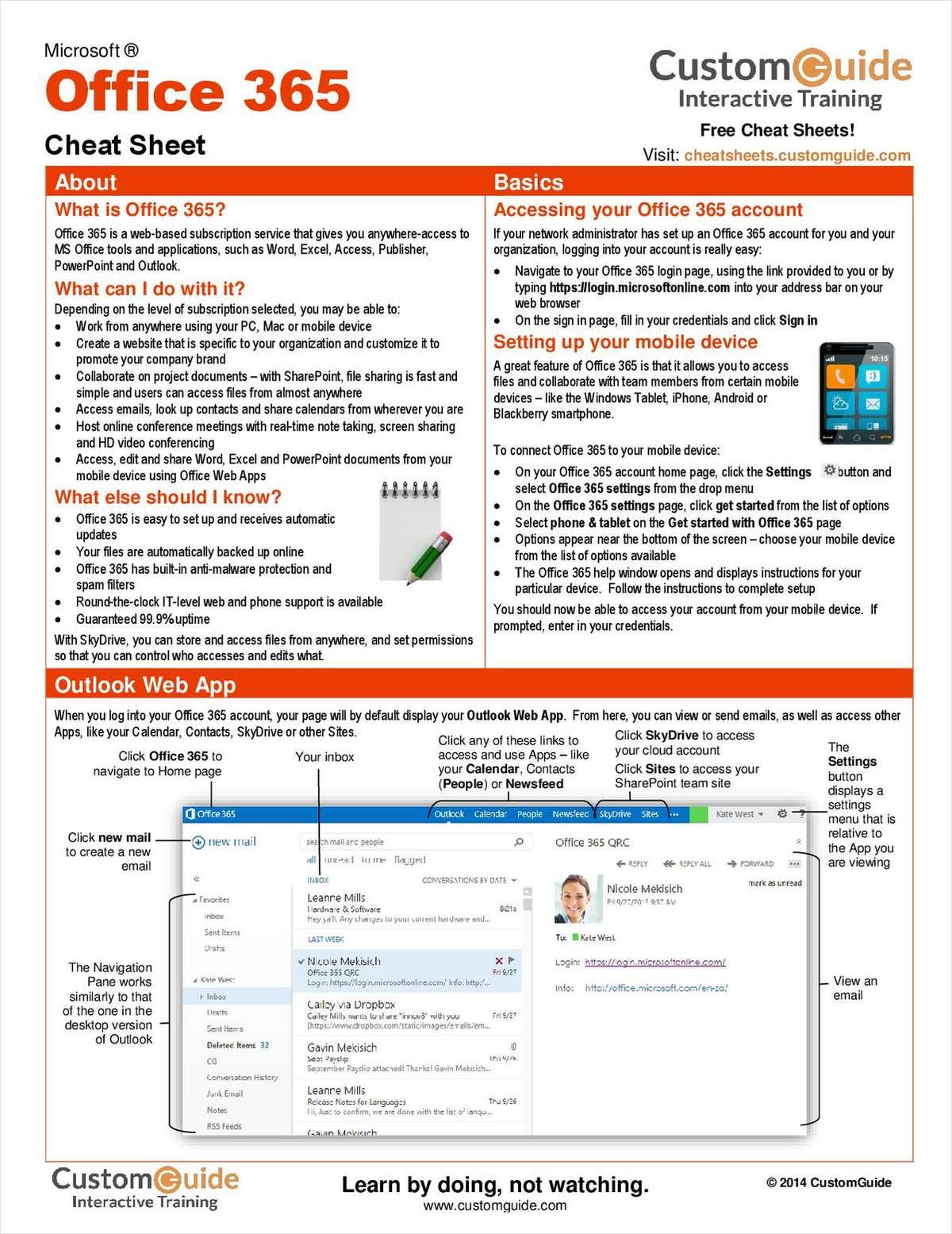 Microsoft Office 365 Free Cheat Sheet Free Customguide