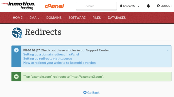Setting up a 301 Domain Redirect in cPanel | InMotion Hosting