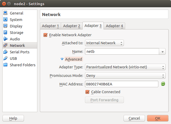 Konfiguracija Adaptera 3 node2 VM