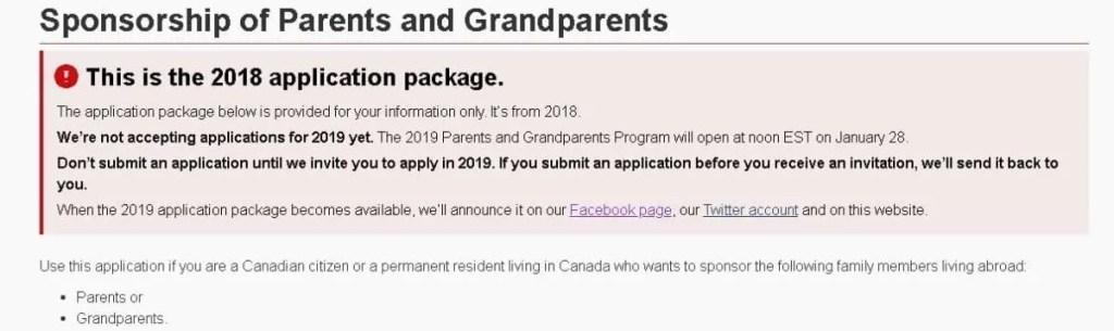 Aviso no Site do IRCC (Ministério de Imigração do Canadá) sobre o sponsorship