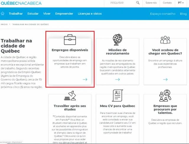 Screenshot do site do Quebec en Tete