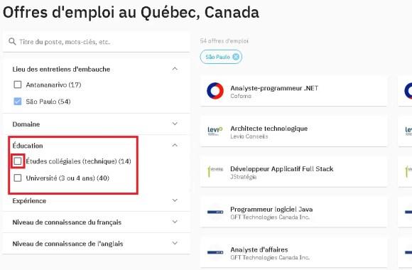 Vagas anunciadas da Missão de Recrutamento Quebec en Tete para quem tem curso Tecnólogo