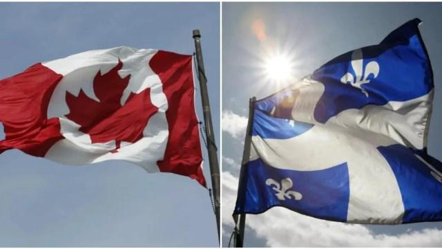 Bandeira do Canadá e Quebec. Quebec seleciona seus imigrantes