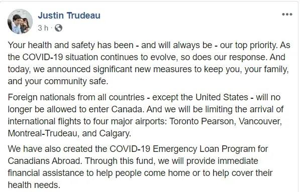 Pronunciamento do Justin Trudeau sobre fechar a fronteira