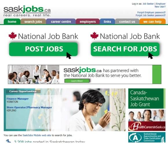 Saskjobs banco de empregos da província