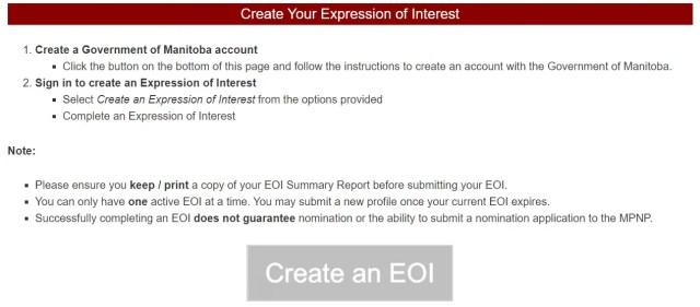 Express of Interest (EOI) - Winnipeg Manitoba Canada
