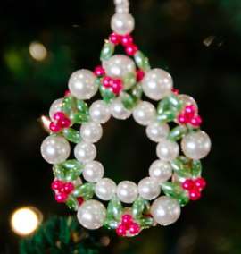 Beaded wreath made by neighbor and friend, Jeanne.
