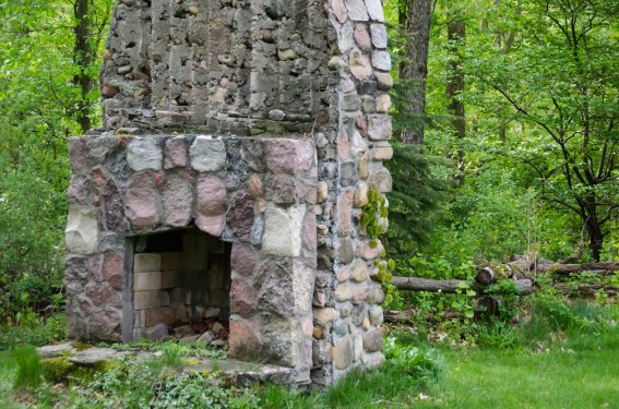 Stone chimney left standing.