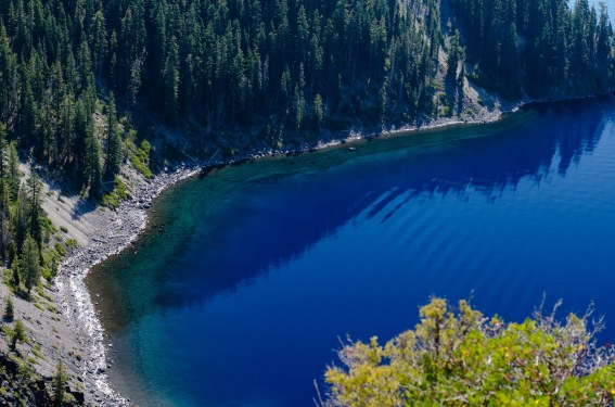 Looking down at the lake from the rim.