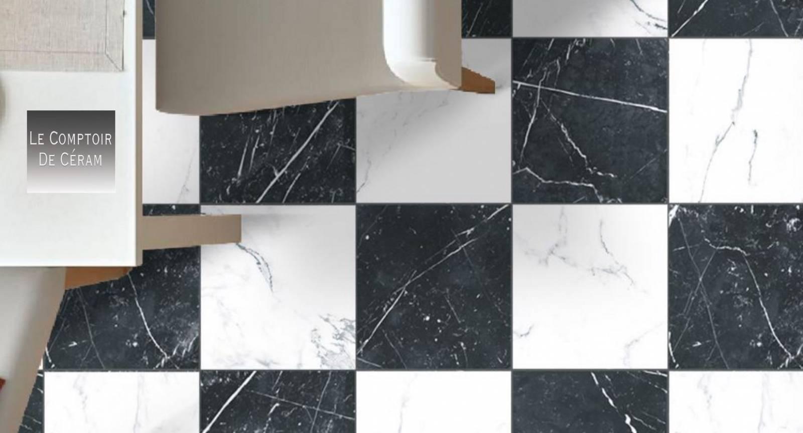 effet marbre noir blanc damier 25