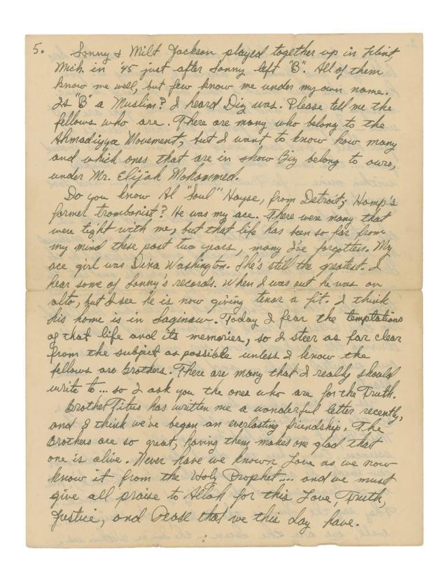 Malcolm X Letter re Jazz and Sonny Stitt 5