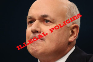 Iain Duncan Smith with the words illegal policies written across his face