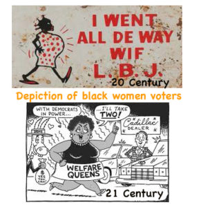 black women votes have been depicted unfavourably pregnant with exaggerated features or fat wanting expensive cars when on benefit | imjussayin