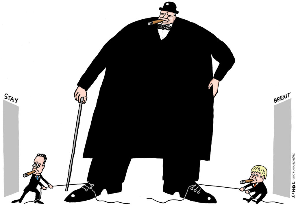 Churchill with Cameron and Boris on either side putting toward a door to stay in Europe or to leave. | www.imjussayin.com