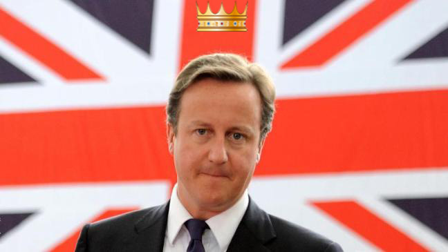 David Cameron with a gold crown in front of the Union Jack | David Cameron's Legacy 0 | www.imjussayin.com