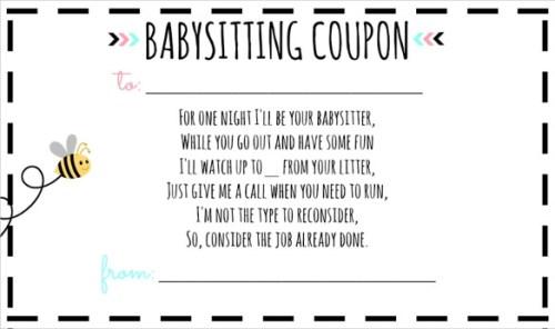 baby sitting coupon - precious gift | www.imjussayin.com