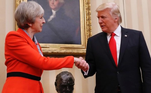 special relationship May and Trump shaking hands | www.imjussayin.com/blog