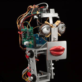 whats on a lip stick receptionist robot