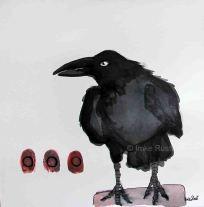 Raven Ink & watercolour on paper, 20x20cm by Imke Rust