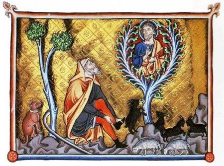 Moses and the burning bush. Medieval Illumination.