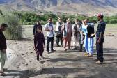 post-disaster assessment of agricultural land destroyed by flooding in the village of Qalcha