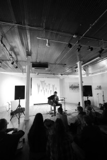 Peter Webb performs in the upstairs gallery / Credit: Samantha Meachem