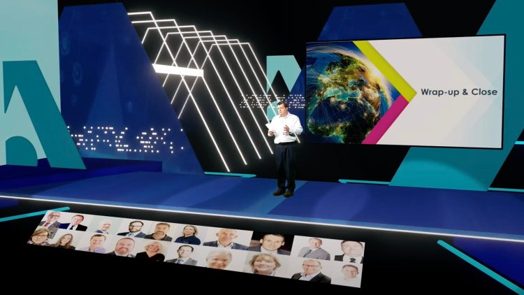 Virtual conference set implemented using green screen and vMix technology by Immersive AV