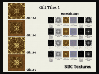 Gilt Tiles 1 Texture and Materials Pack by NDC Textures