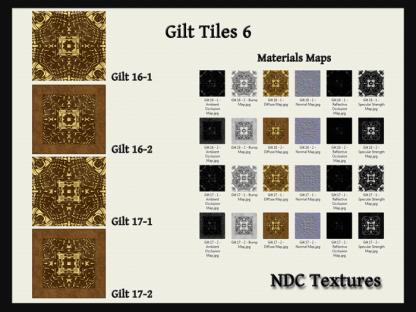 [Immersive Digital] NDC Textures Gilt Tiles 6 Texture & Materials Pack Contact Sheet