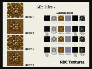 [Immersive Digital] NDC Textures NDC-T104 Gilt Tiles 7 Texture & Materials Pack Contact Sheet