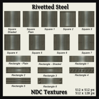 [Immersive Digital] NDC-T021 Rivetted Steel Texture Pack Contact Sheet