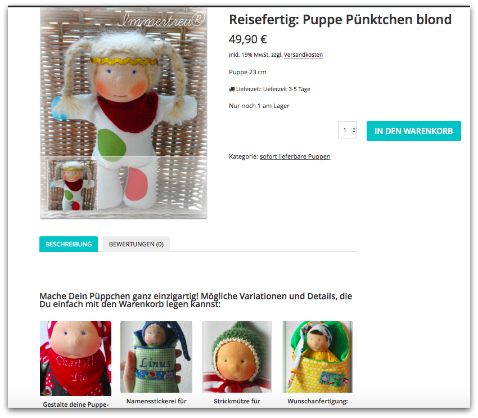 Beispiel für Variationen bei einer reisefertigen Puppe. Die Optionen können einfach mit in den Warenkorb gelegt werden.