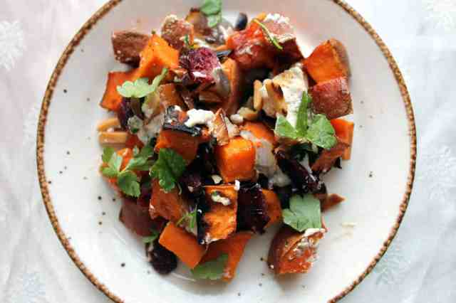 roasted sweet potato salad on a plate