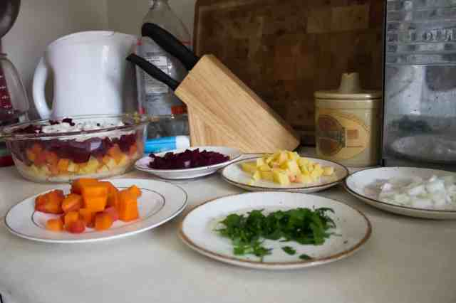 Russian root vegetable salad ingredients