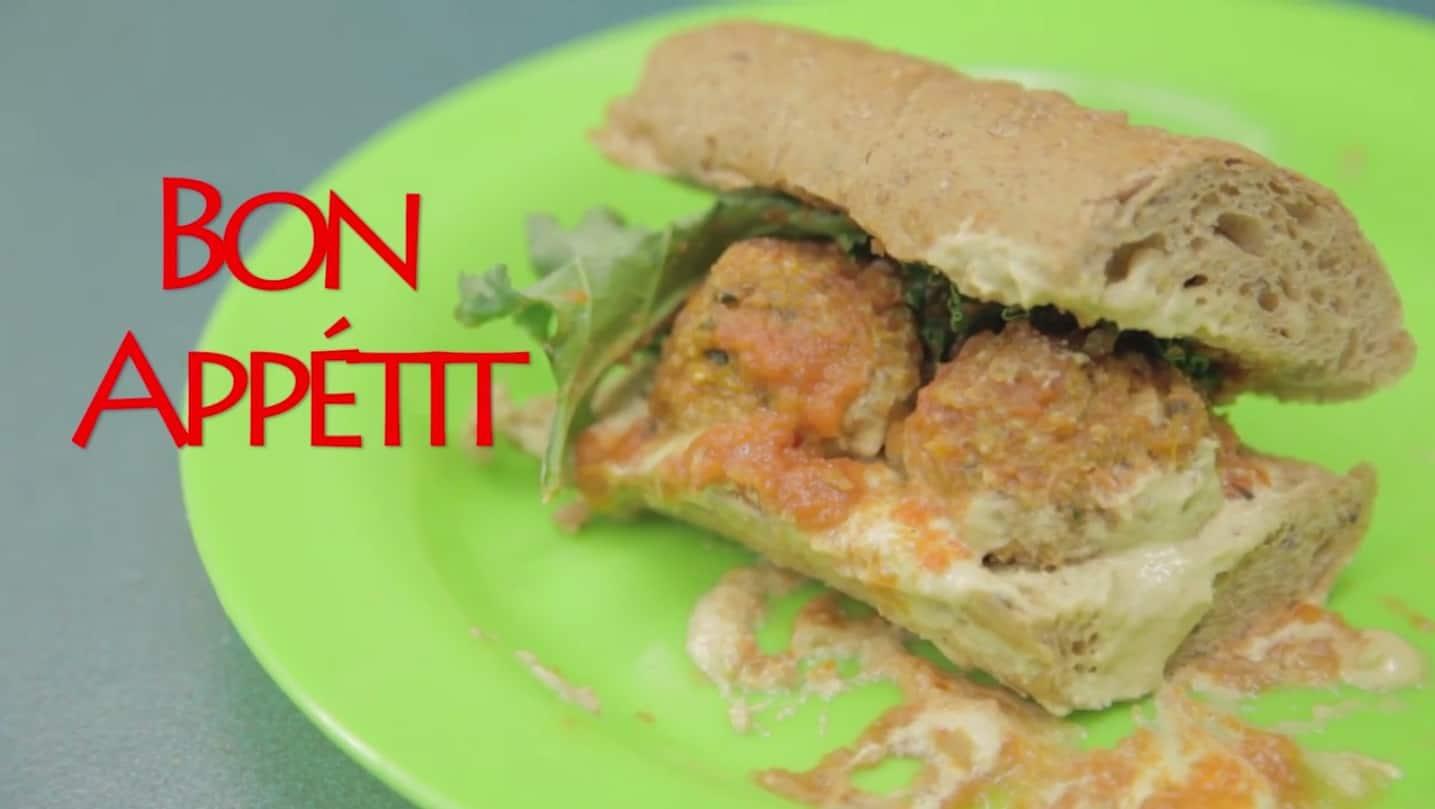 Zucchini meatballs sub on a plate