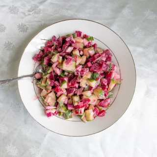 Pickled beet and cucumber salad with a horseradish-yogurt sauce, or letting illness take over