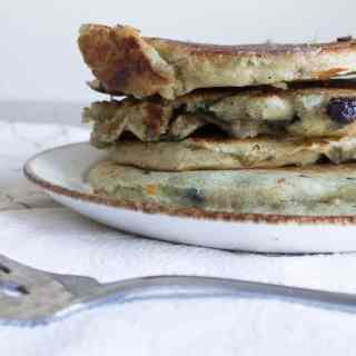 Blueberry sourdough pancakes, or the breakfast of champions