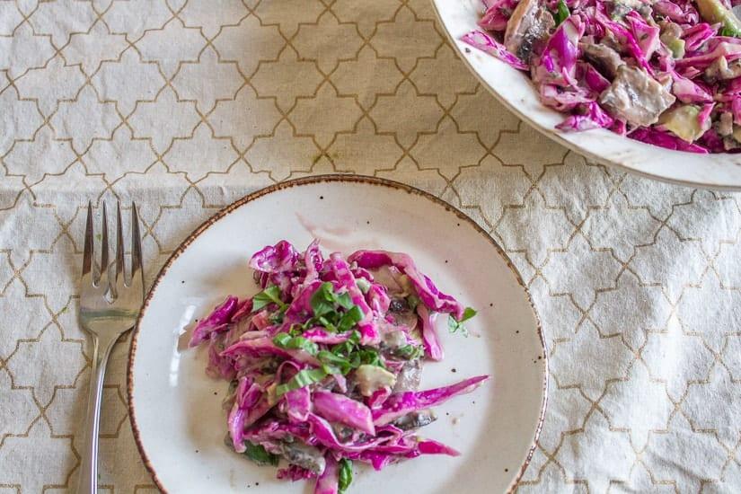 Purple cabbage and pickled mushroom salad 6