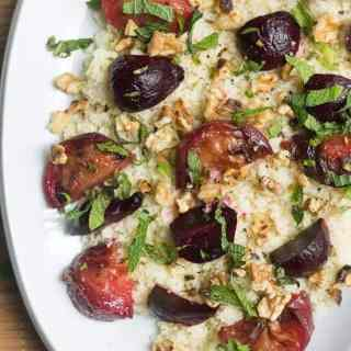 Roasted beet and plum salad