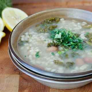 Barley, kale and Romano beans soup