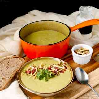 Creamy broccoli stems soup with salad topper crunch