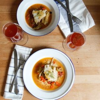 Pan-seared cod with fennel-tomato ragout