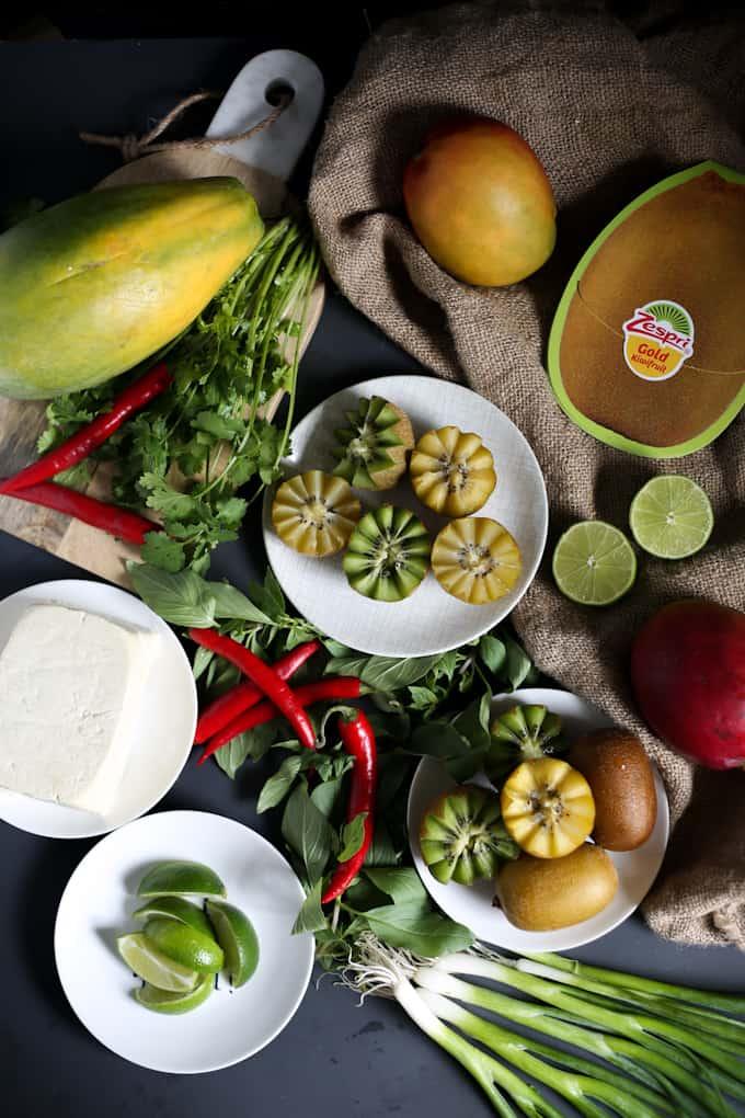 Thai seared tofu in kiwi, ginger and chili marinade with mango kiwi salsa