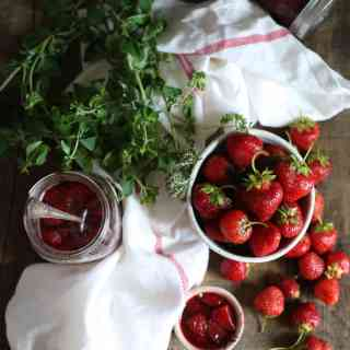 Celebrate summer with honey strawberry jam with oregano blossoms, thyme and lavender, and my best berry picking advice (GF, P)