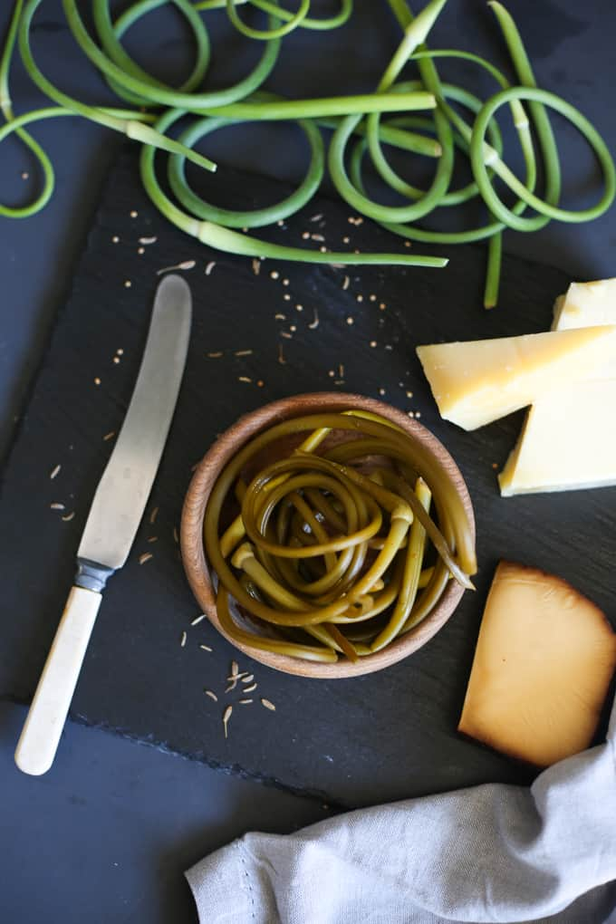 Mustard garlic scape pickles