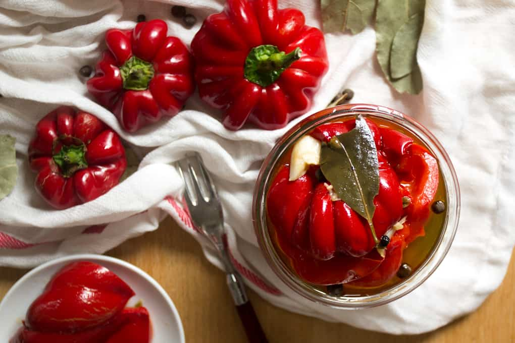 Russian marinated red pepper preserves