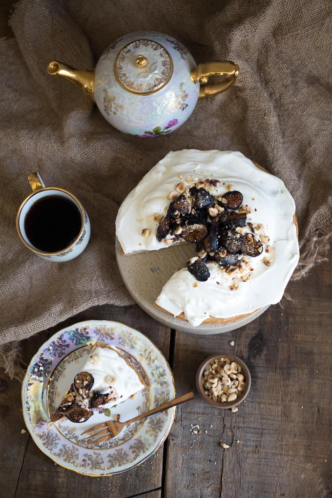 Stevia Sweetened Grain Free Vanilla Cake With Yogurt Crema Roasted Figs And Hazelnuts