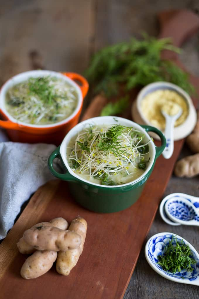 Salt-free potato leek soup with mustard