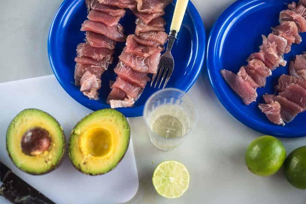 Tuna carpaccio with avocado and passion fruit