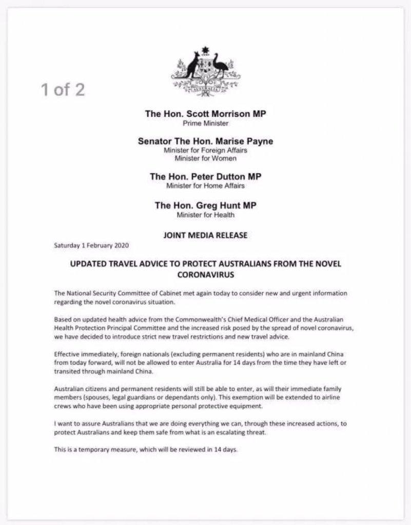 武漢肺炎爆發 對澳洲移民計劃有這些影響